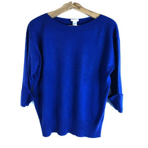 Chico's SZ 1 Dolman Sleeve Sweater Blue Cotton Bld